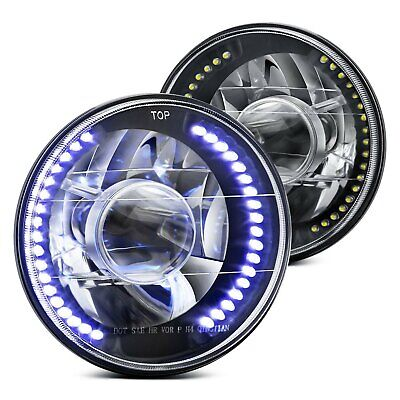 """For Ford F-150 75-79 Lumen 7"""" Round Black Projector LED Headlights H6024"""