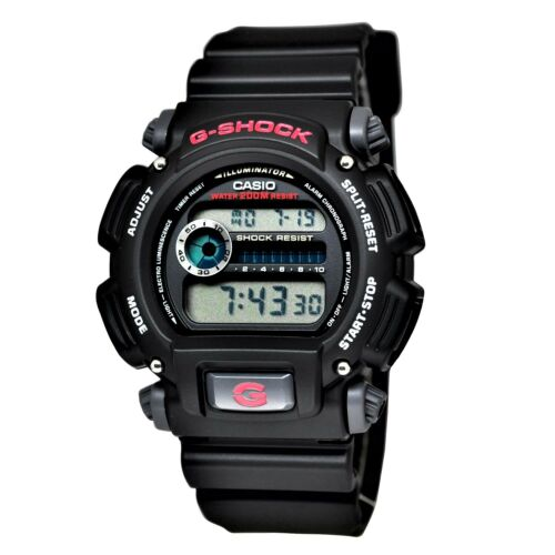 Mens Watches - Casio Men's DW9052-1V G-Shock Black Stainless Steel and Resin Digital Watch