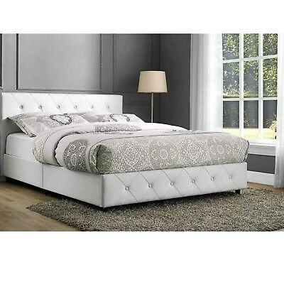 White Full Size Bedroom Set 2 Nightstands Leather Modern Design Furniture Bed