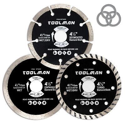 Toolman 4-12 Diamond Saw Blade Set Pack Of 3 Continuous Turbo Segmented