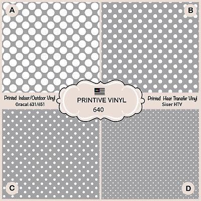 - Polkadots Grey Background Pattern Printed Siser HTV, Adhesive Craft Vinyl- 640