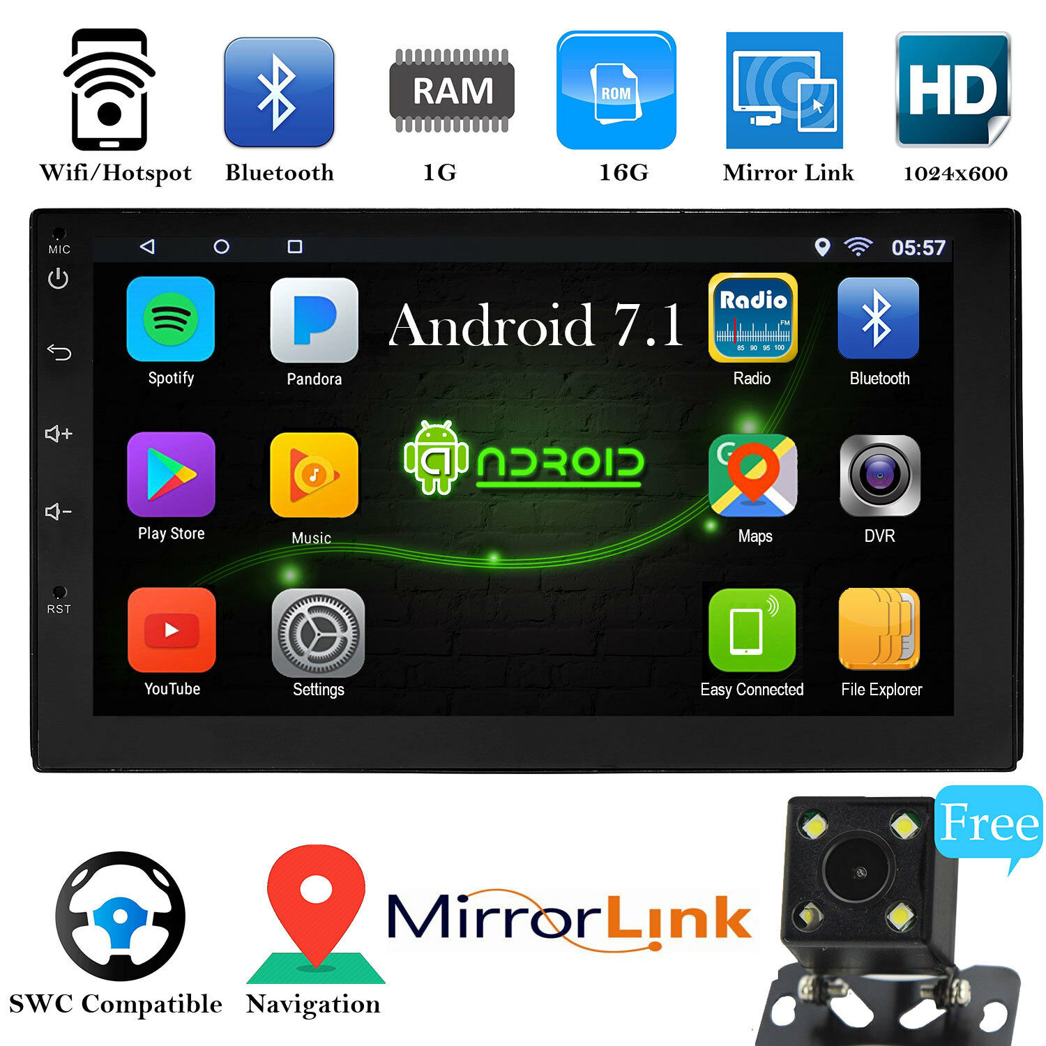 2 din 7 mp5 player gps wifi rear camera android 7 1. Black Bedroom Furniture Sets. Home Design Ideas