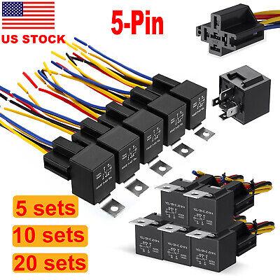 12v Car Spdt Automotive Relay 5 Pin 5 Wires Harness Socket Set 30amp40amp Us