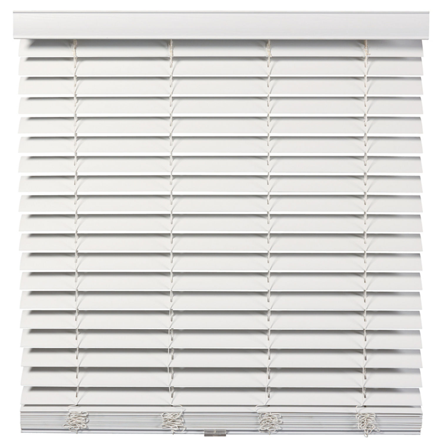 Cordless/Wandless 2 inch Faux Wood Blinds - White - Free Shipping