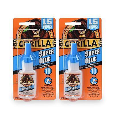 2x Gorilla Super Glue Gel 15 G Clear For Plastic Wood Metal Leather Glue New