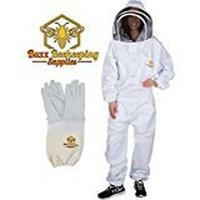 Professional Beekeeping Suit And Goatskin Gloves 1 Pair Self-supporting Fen...