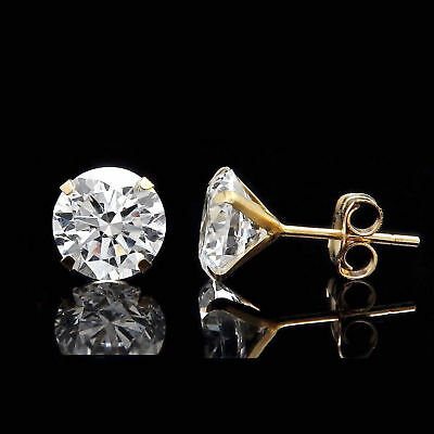 2.5CT CREATED DIAMOND MARTINI EARRINGS 14K YELLOW GOLD SOLITAIRE 4-PRONG STUDS ()