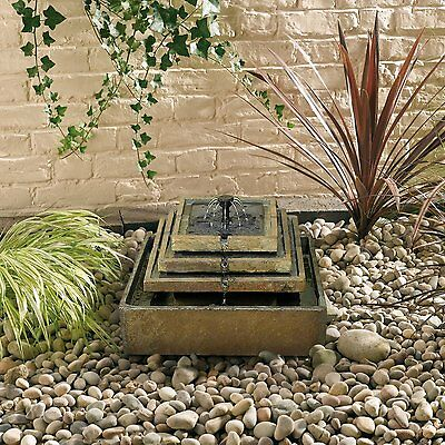Natural Slate Tiered Fountain Outdoor Water Feature (Solar) by Smart Solar