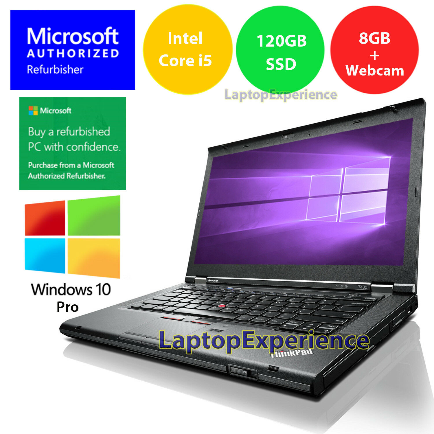 Laptop Windows - LENOVO LAPTOP T430 i5 2.5GHz 120GB SSD 8GB WINDOWS 10 PRO WEBCAM WiFi NOTEBOOK