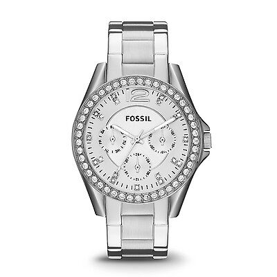 FOSSIL ES3202 Riley Multifunction Crystal Dial Stainless Steel 38mm Ladies Watch