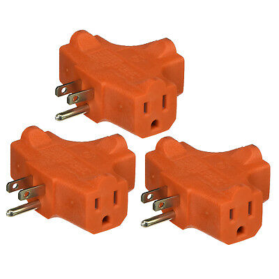 3-Way Splitter Electric Plug Wall Outlet 3 Prongs Ground Triple-Tap Adapter - Electric 3 Way