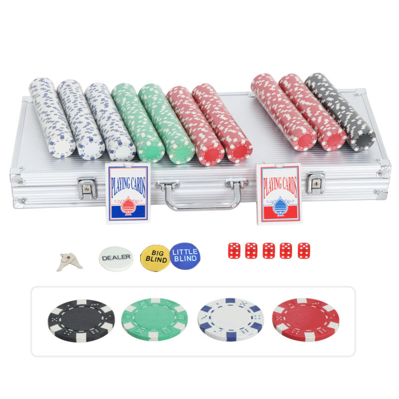 Pro Poker 500PCS Chips Set W/2 Cards + 5 Dices+Aluminum Case Texas Hold