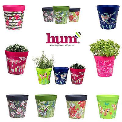 Hum Flowerpots Plant Pots Colourful Indoor/Outdoor Planters - Set of 3