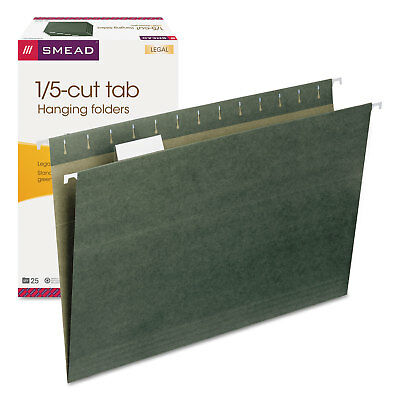 Smead Hanging File Folders 15 Tab 11 Point Stock Legal Green 25box 64155
