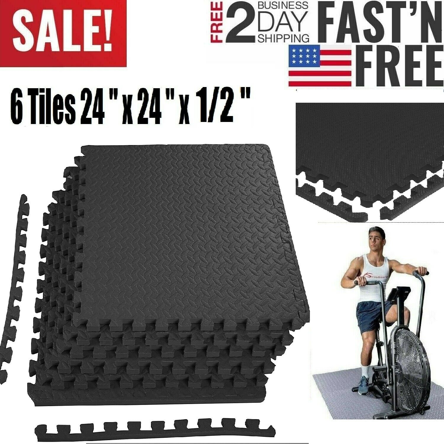 Exercise Floor Mat Fitness Puzzle Rug Gym Workout 24SF Equip