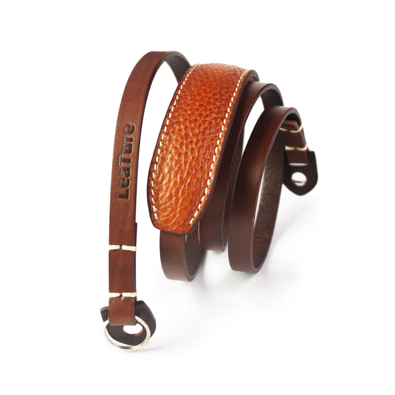 US LeaTure Leather Camera Shoulder Neck Strap with Pad for Mirrorless DSLR Brown