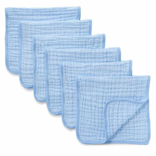 Muslin Burp Cloths 6 Pack Large 100% Cotton Hand Washcloths 6 Layers (Blue)