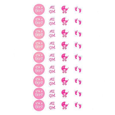 Its a Girl Baby Shower Party Sticker Mädchen Aufkleber Pink 108 Stk 4 Motive