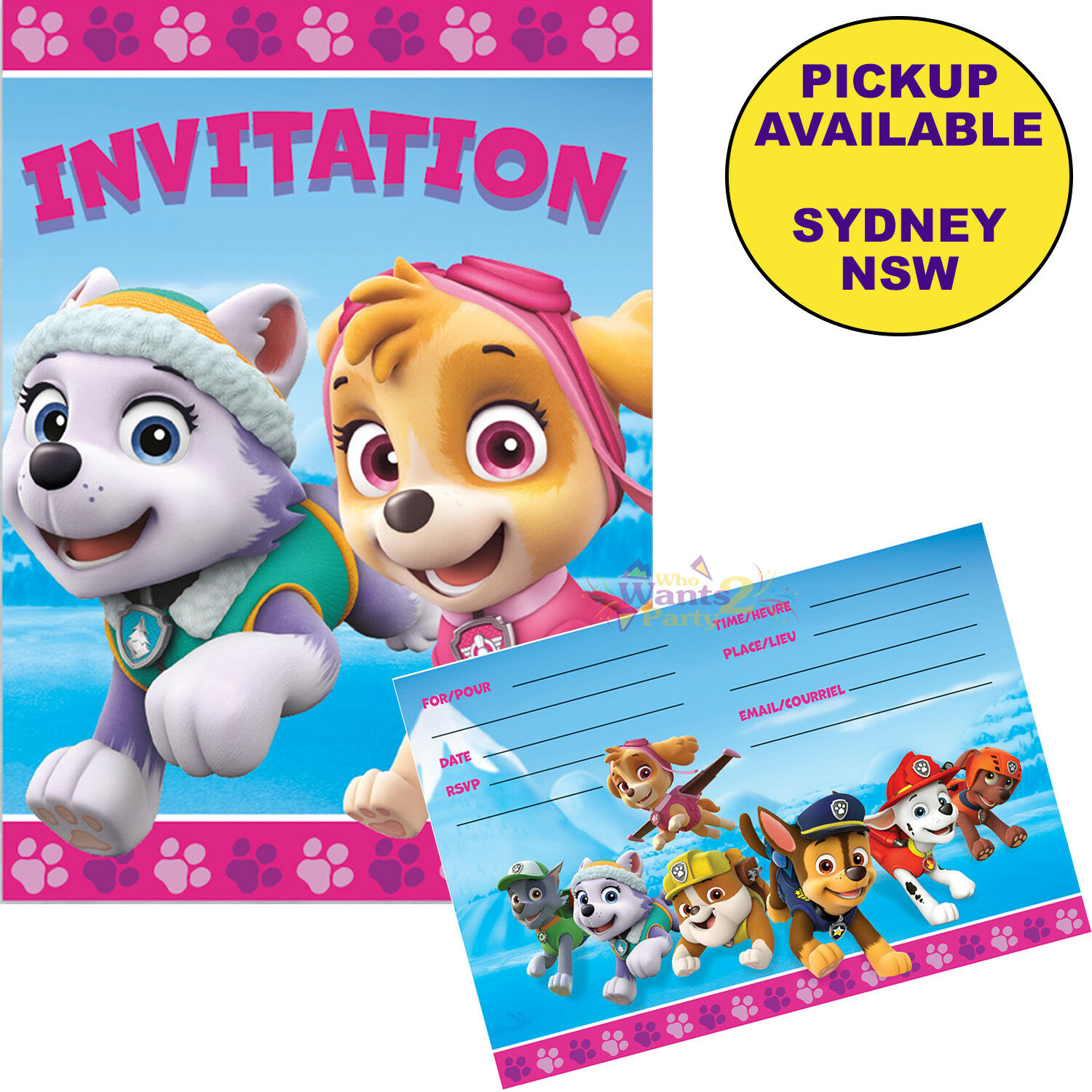 Details About PAW PATROL PINK GIRLS PARTY SUPPLIES 8 INVITATIONS BIRTHDAY INVITES SKYE EVEREST