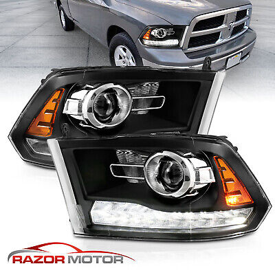 For 2009-2018 Dodge Ram 1500 2500 3500 Onyx Black LED Bar Projector Headlights