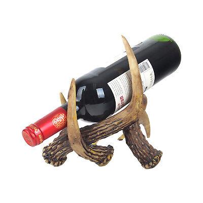 Western Vintage Cowboy Wine Bottle Holder Dead Tree Bark Deer Antler Bone Cowboy Wine Bottle Holder