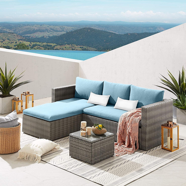 Garden Furniture - Rattan Garden Furniture Patio Corner Sofa Set Lounger Table Outdoor Conservatory