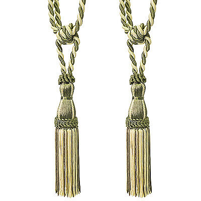 Two Tone Fringe Tassel Window Curtain Holdback Tie Back Pair Gold/Sage Home & Garden