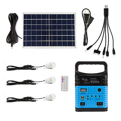 10Watt Portable Generator Power Inverter Solar System with 6W Solar Panels Blue