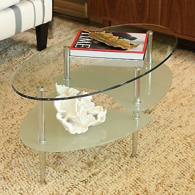 Oval Glass Coffee Table/Living Room/Small/Unique/Modern/Mirrored/Sturdy