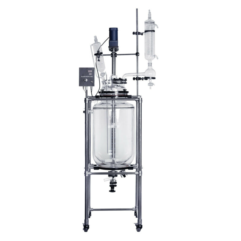 lab1st 100L Jacketed Glass Chemical Reactor,Glass Reaction Vessel, ship from US