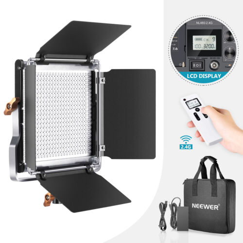 Neewer 480 LED Video Light Dimmable Bi-Color LED Panel with 2.4G Wireless Remote