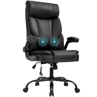 Massage Office Chair Ergonomic Desk Chair Pu Leather Computer Chair With Lumbar