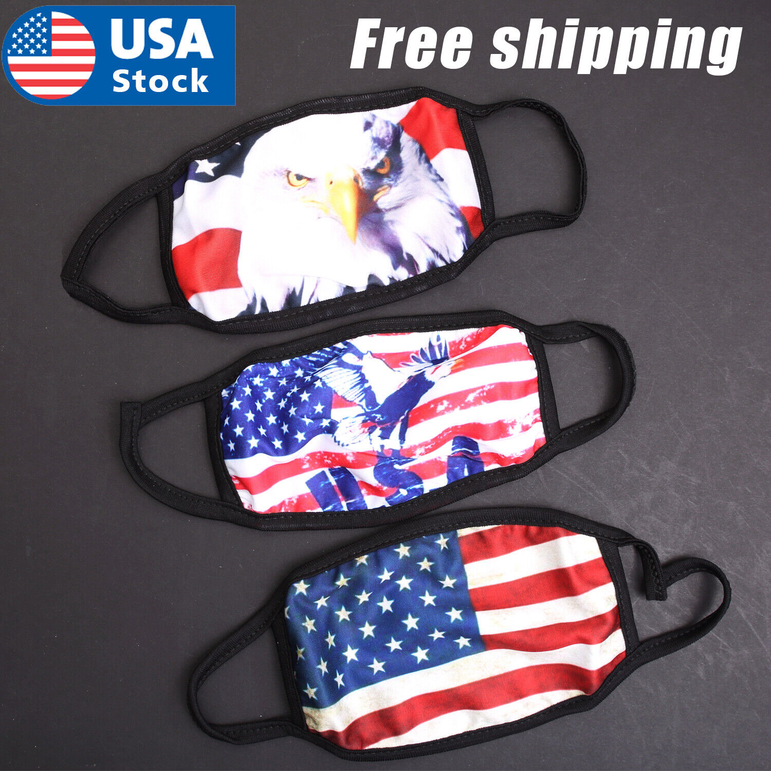 USA American Flag Face Mask Bald Eagle Reusable Washable Protection Face Cover Accessories