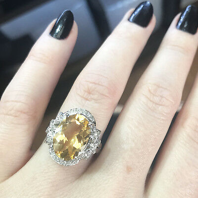 6.2 ct tw Natural Yellow Citrine & Diamond Solid 14k White Gold Cocktail - Citrine Diamond Cocktail Ring