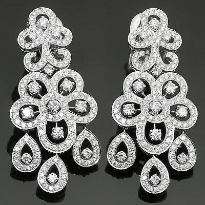 VAN CLEEF & ARPELS Dentelle Diamond 18k White Gold Chandelier Earrings