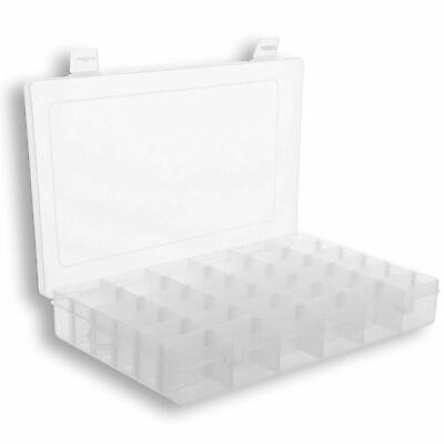 Plastic Organizer Storage Box w/ Dividers | 36 Compartment | Jewelry Organizer  Plastic Storage Dividers