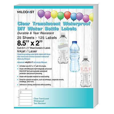 Milcoast Glossy Clear Translucent Waterproof DIY Water Bottle Labels - 25 Sheets