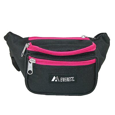 Everest Signature Fanny Pack.044KD Black/Pink/Cotton Poly/Key Clip/New-Free Ship