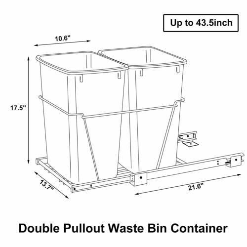 Double Pullout Trash Kitchen Container Can 35 Quart Sliding Waste Bin Black General Household Supplies