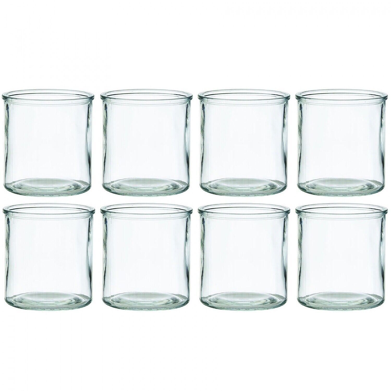Windlichter aus Glas H 10 cm Kerzengläser Teelichtgläser Teelichthalter Vase