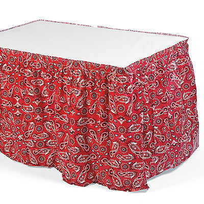 Country Western Cowboy Cowgirl Party Favor Red Bandana Print Table Skirt Decor (Cowboy Red Bandana)