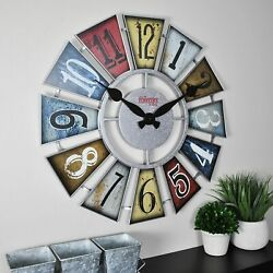 Big Numeral Windmill Wall Clock, 24, Multicolor Farmhouse Rustic Country Decor