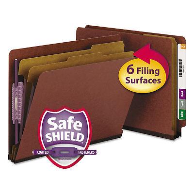 Smead Pressboard End Tab Classification Folder Letter Six-section Red 10box