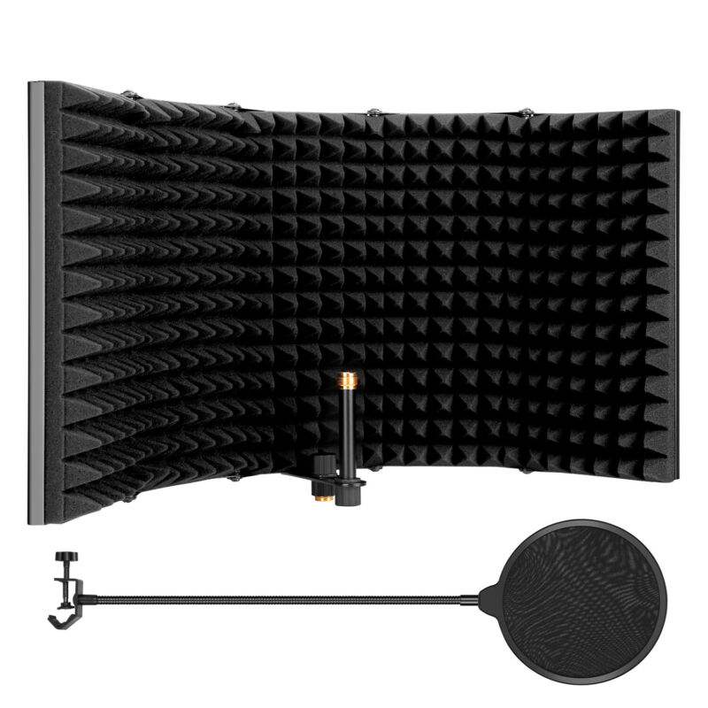 """23"""" 5 Panel Microphone Isolation Shield Acoustic Foam Sound Recording PopFilter"""