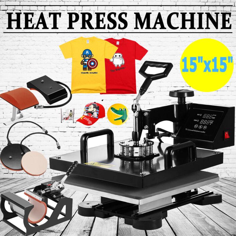"15""x15"" 5 IN 1 T-Shirt Heat Press Printing Machine Swing Away Sublimation MUG"