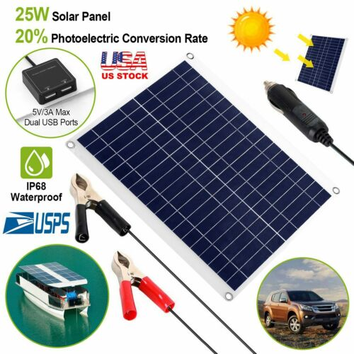 25W Solar Panel 12V Off Grid Battery Charger Outdoor for Car