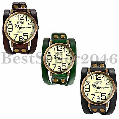 Retro Herren Armbanduhr Breit Analog Quarz Sport Groß Digital Uhr Leder Armband Großes Armband