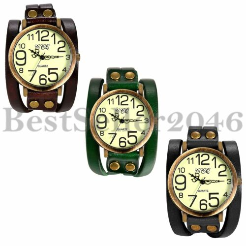 Retro Herren Armbanduhr Breit Analog Quarz Sport Groß Digital Uhr Leder Armband