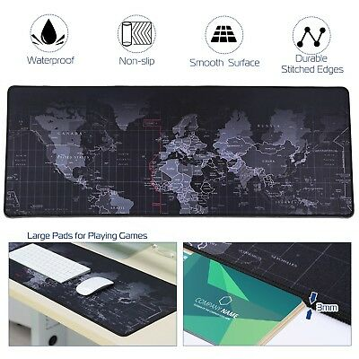 Large Gaming Mouse Pad Non-Slip Desk PC Keyboard Mat World Map Surface 80x30cm