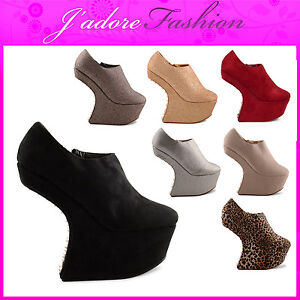 NEW-LADIES-GLAM-STUD-HEEL-LESS-WEDGES-PLATFORM-ZIP-UP-ANKLE-BOOTS-SIZES-UK-3-8